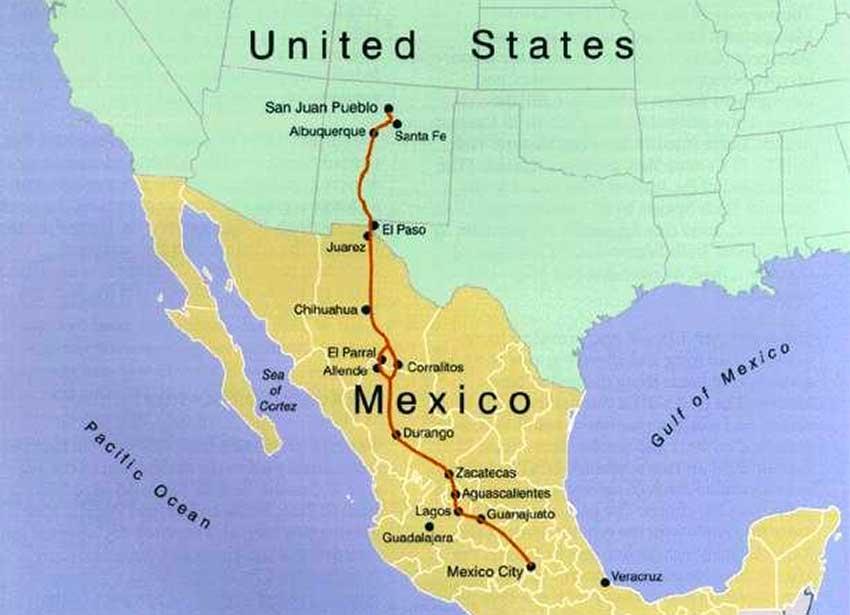 The Camino Real, between Mexico City and Santa Fe, New Mexico.
