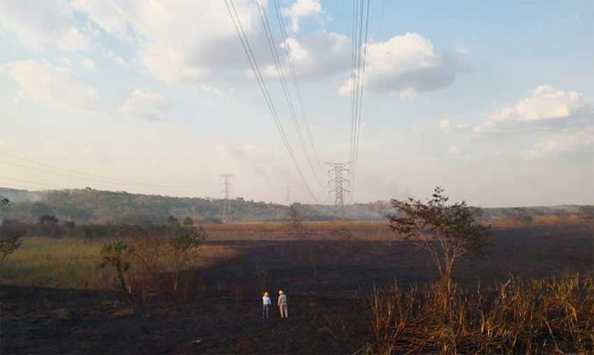 Scene of the fire that knocked out power on the Yucatán peninsula.
