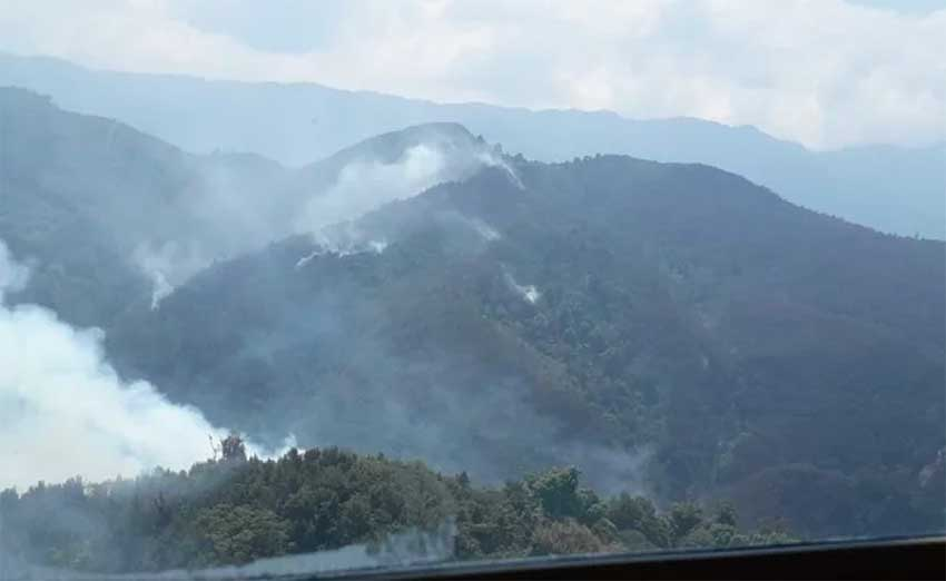 Smoke in the mountains of the Triunfo biosphere reserve.