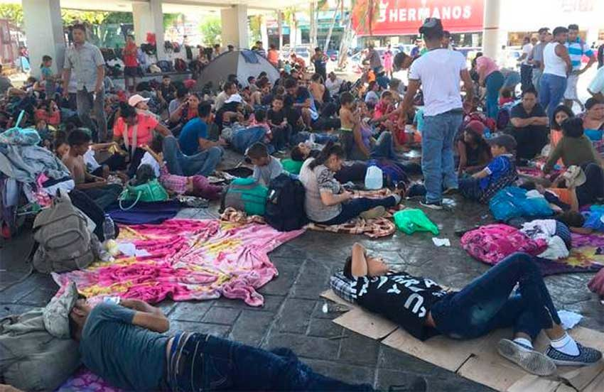 Migrants camp in the center of Tapachula.