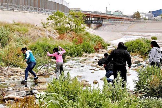 Migrants at the US border.