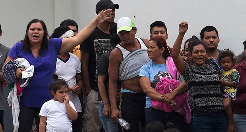 Detained migrants in Tapachula demand food and freedom.