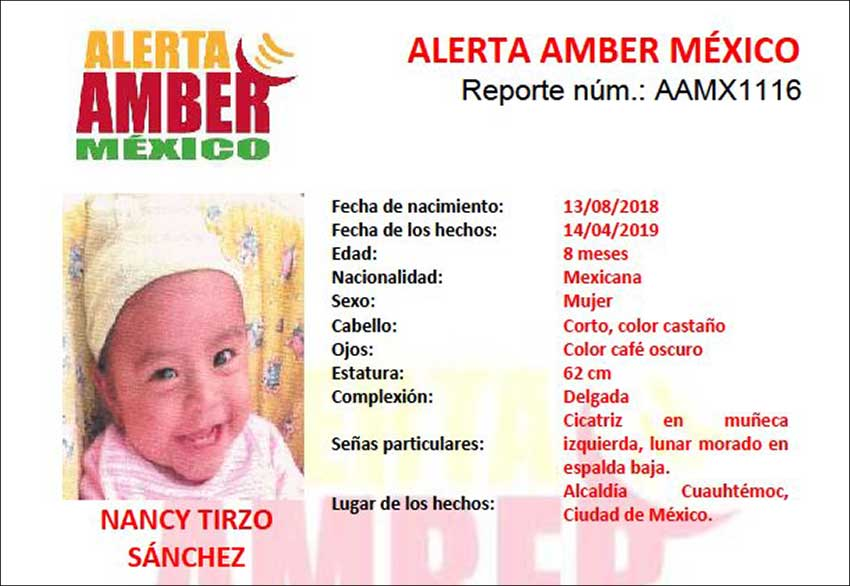 An amber alert was issued for eight-month-old Nancy.