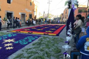 A street has been decorated in preparation for the Lord of the Column procession in San Miguel de Allende.