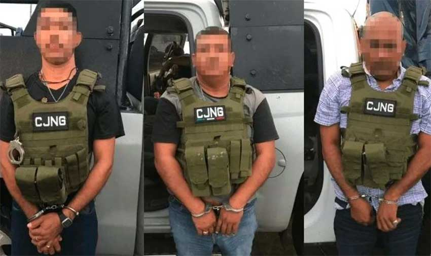 The three CJNG members sentenced for drug trafficking and weapons offenses.