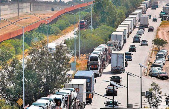 Trucks have a long wait in Tijuana.