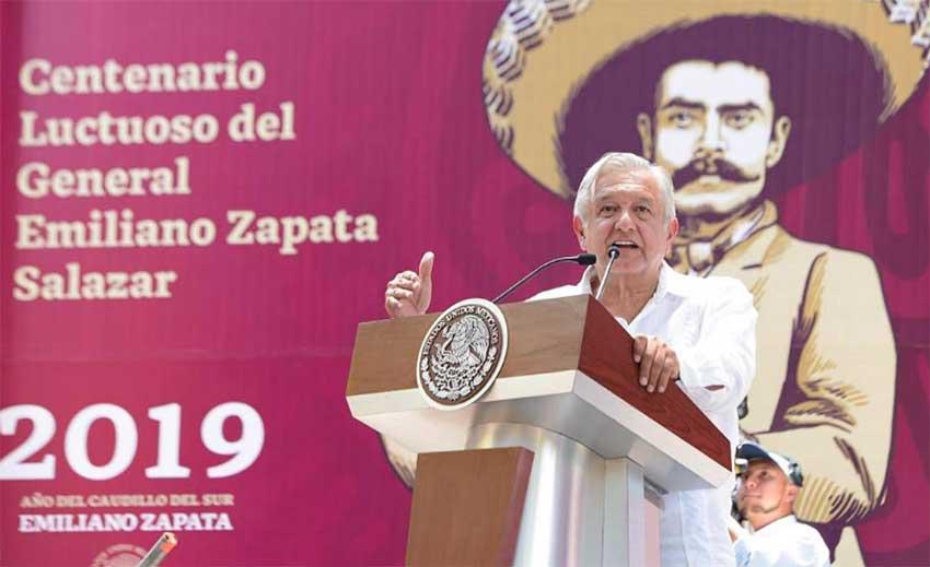 López Obrador speaks at event remembering Emiliano Zapata.