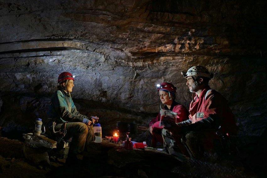 Cavers in a deep Sistema Huautla underground camp.