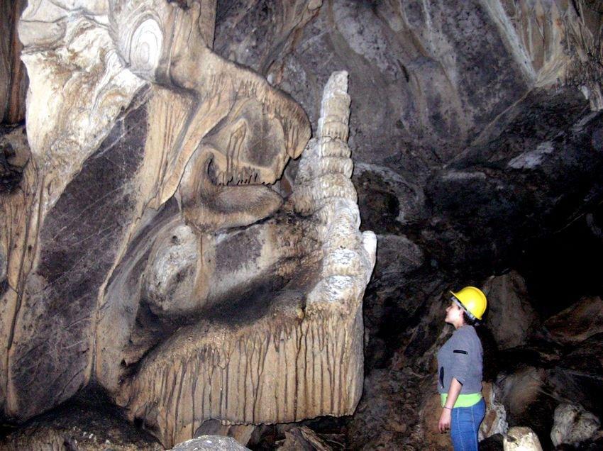 Curious cave formation inside La Cueva de la Palma, near Atemajac.