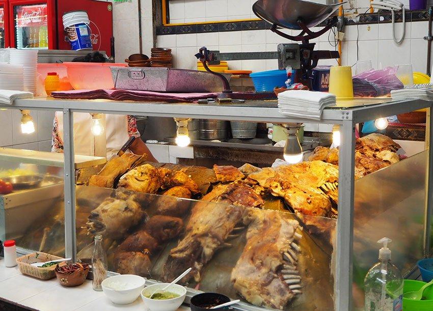 """The mutton case at Taqueria """"El Mejor"""" Barbacoa de Horno."""