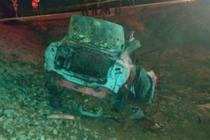 The car that was struck by a train in Mexicali.