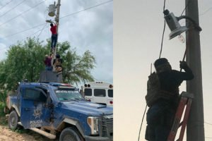 Cameras installed by the bad guys are removed in Reynosa.