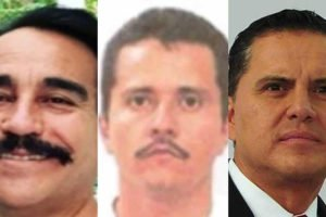 From left, the judge, CJNG leader Nemesio Oseguera Cervantes and the ex-governor.