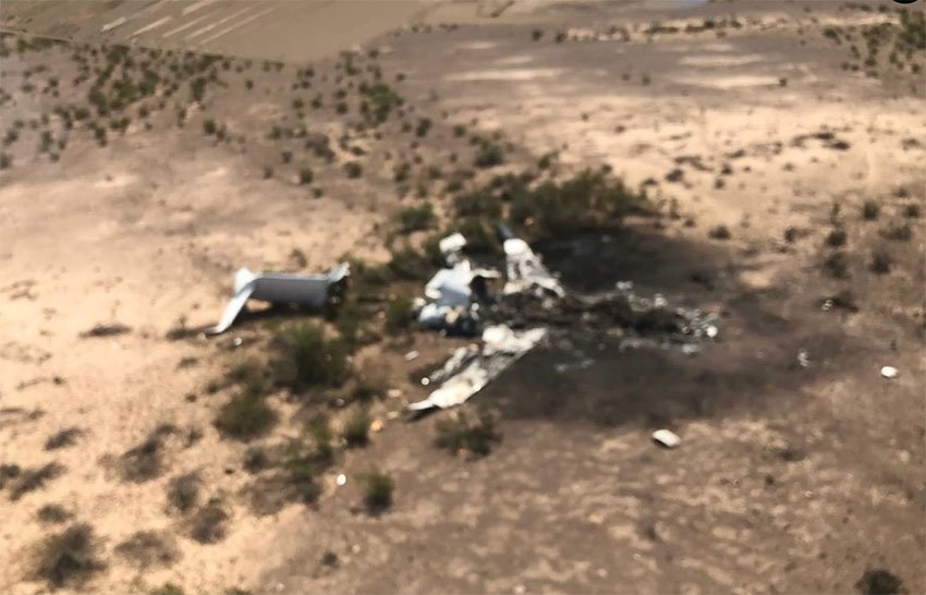 The wreckage of yesterday's plane crash in Coahuila.