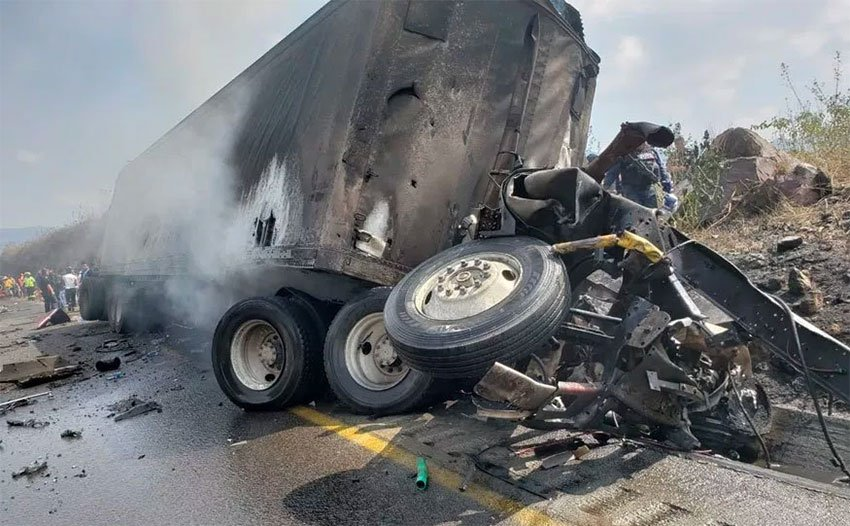 The wreckage of the semi after the accidenton a Veracruz highway.