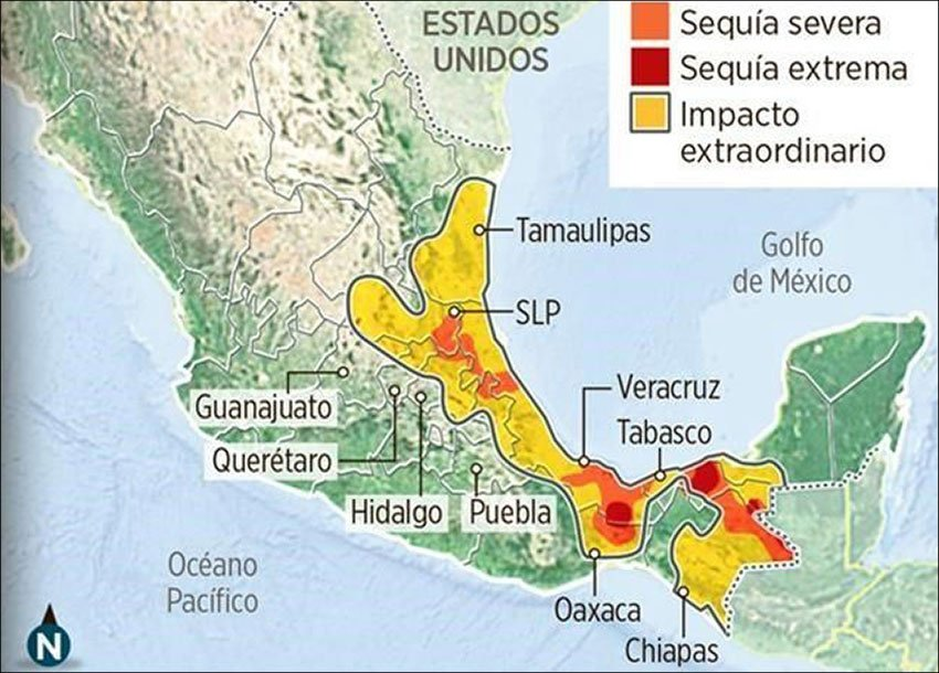 Areas affected by drought.