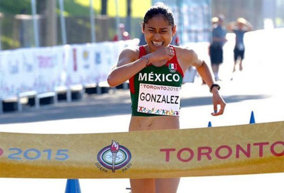 González crosses the finish line to win gold at the 2015 Pan American Games.
