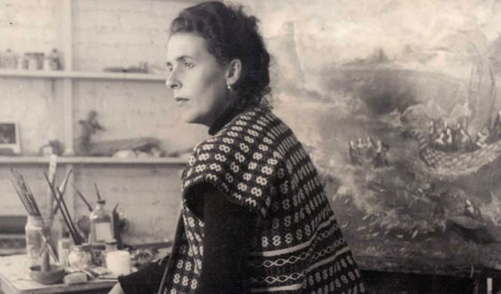 Leonora Carrington at work in her studio.