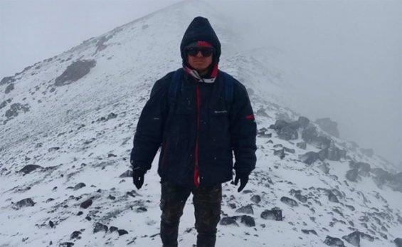 Suazo at the summit of El Popo.