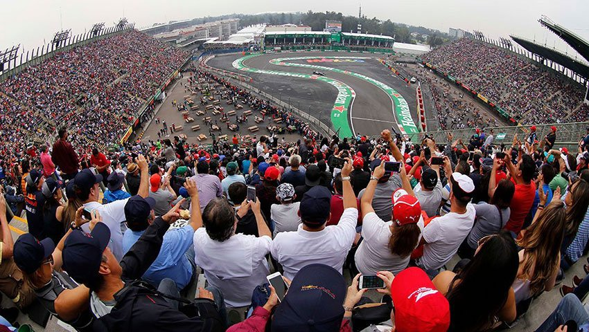 Racing fans fill the stands at the Mexican Grand Prix.