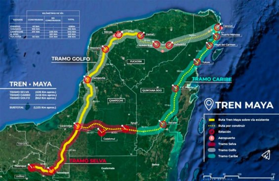 Route of the Maya Train, the federal government's signature infrastructure project.