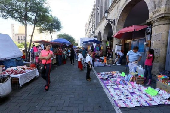 Street vendors in downtown Guadalajara.