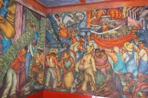 """""""La industrialización del campo"""" by Marion Greenwood, 1935, on the stairway at Mercado Abelardo Rodríguez."""