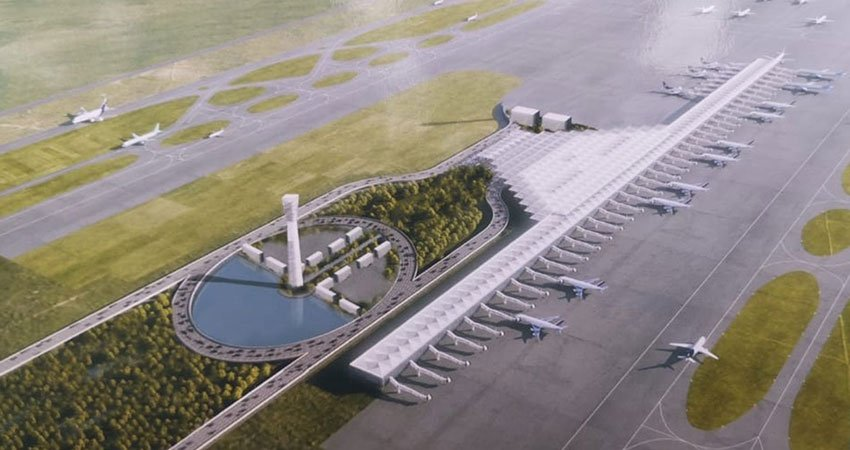 Artist's conception of the new airport at Santa Lucía.
