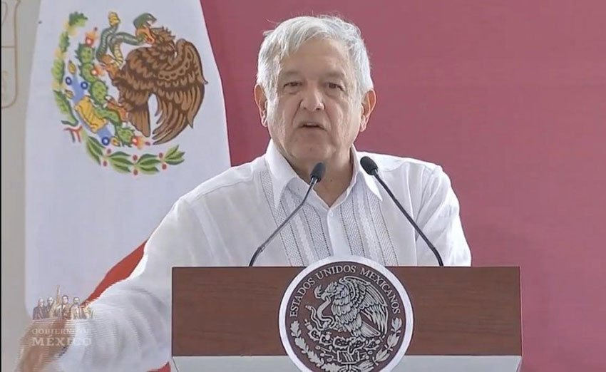 López Obrador speaking in Tabasco yesterday, where he offered a message of friendship to the US.