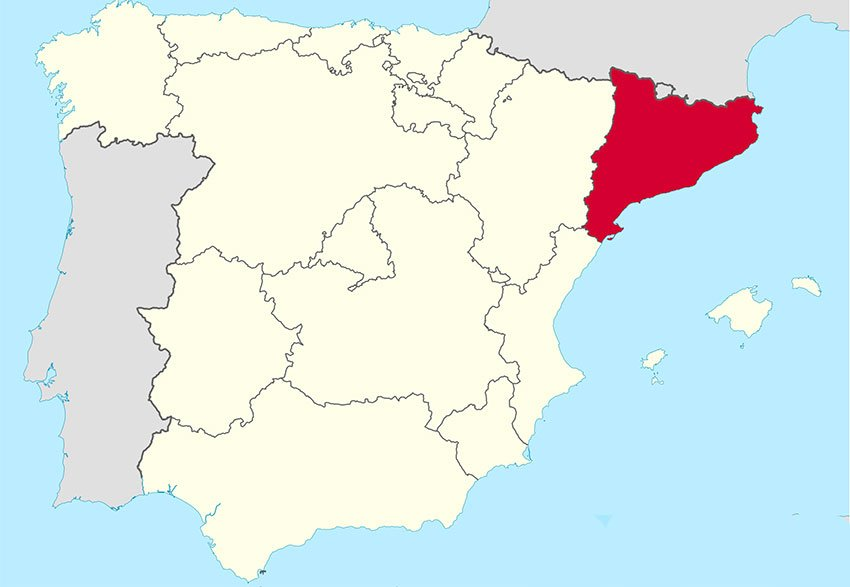 Sorry: highlighted in red is Catalonia, a piece of Spain that has apologized for the conquest.