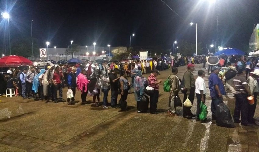 Dozens of people began lining up Sunday night to apply for jobs at the refinery site. Hiring began today.