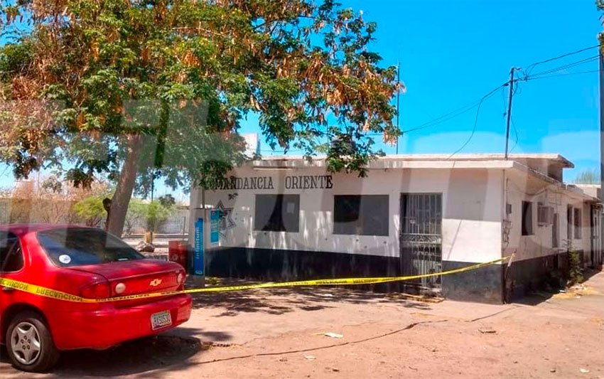 The Guaymas police station that was attacked by gunmen.