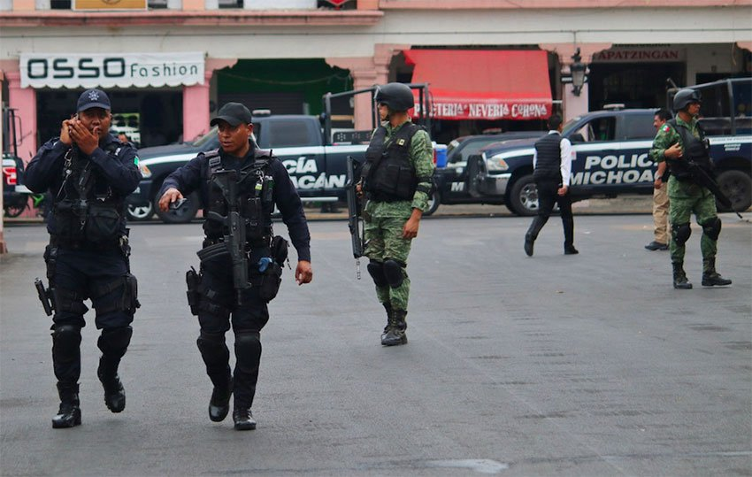 Security forces on patrol in Michoacán.