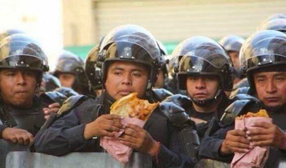 police eating