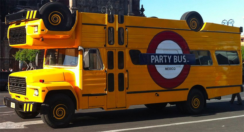 A Mexico City party bus: authorities want them gone.