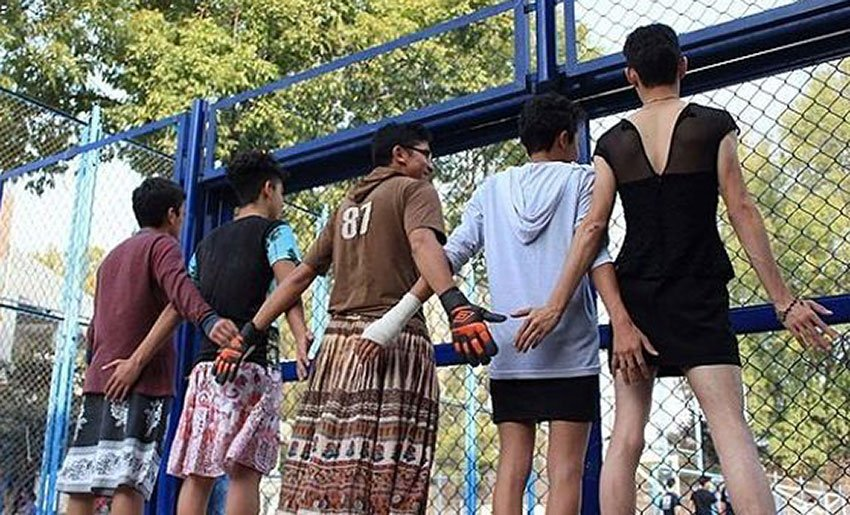 Male students in Mexico City don skirts in an annual demonstration against social prejudice.