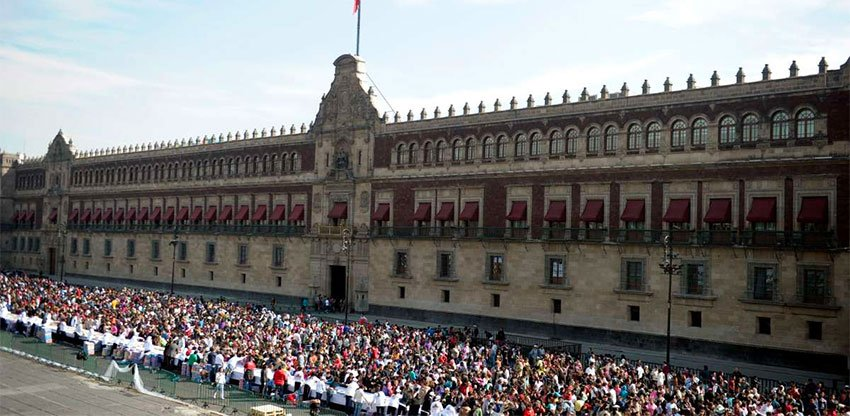 Students protest outside the National Palace today.