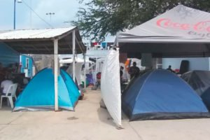 Migrants' tents at a shelter in Reynosa.