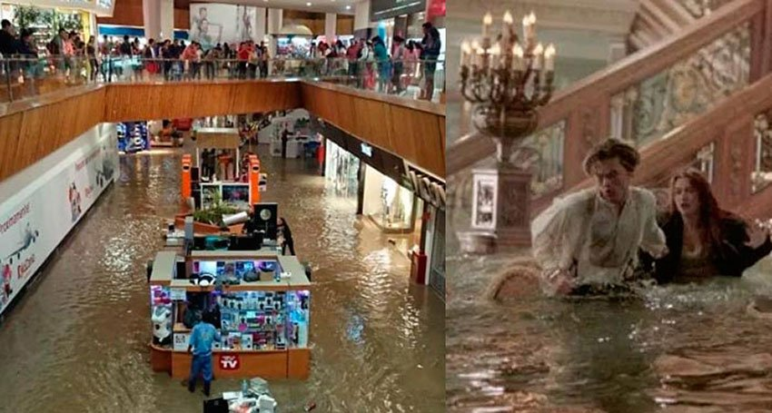 Music during mall flooding, left, recalls the film Titanic, right.