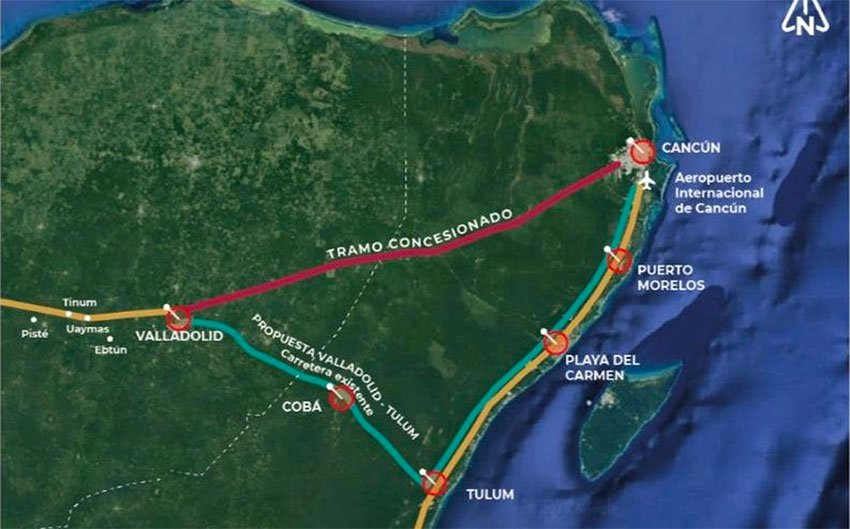 The red line indicates the part of the Maya Train route that has been eliminated.