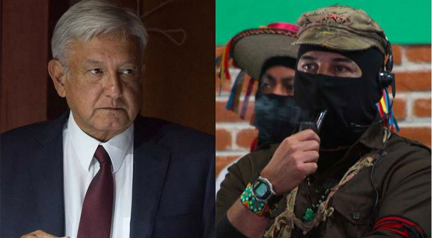 AMLO and the pipe-smoking Marcos.
