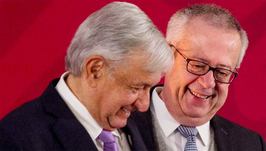 López Obrador and Urzúa at a happier moment.