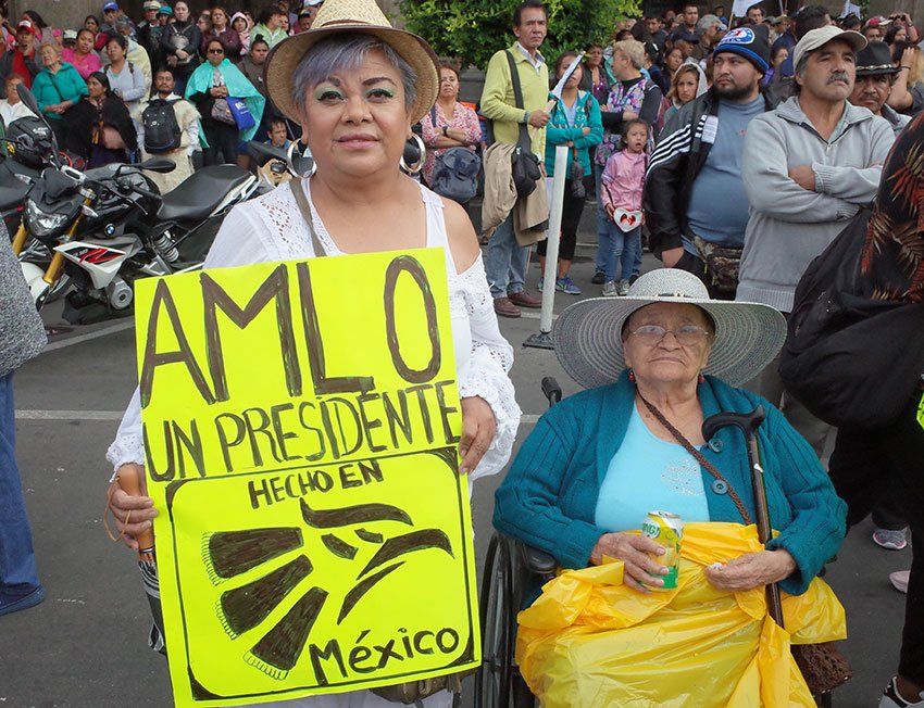 'A president made in Mexico,' reads a fan's sign.
