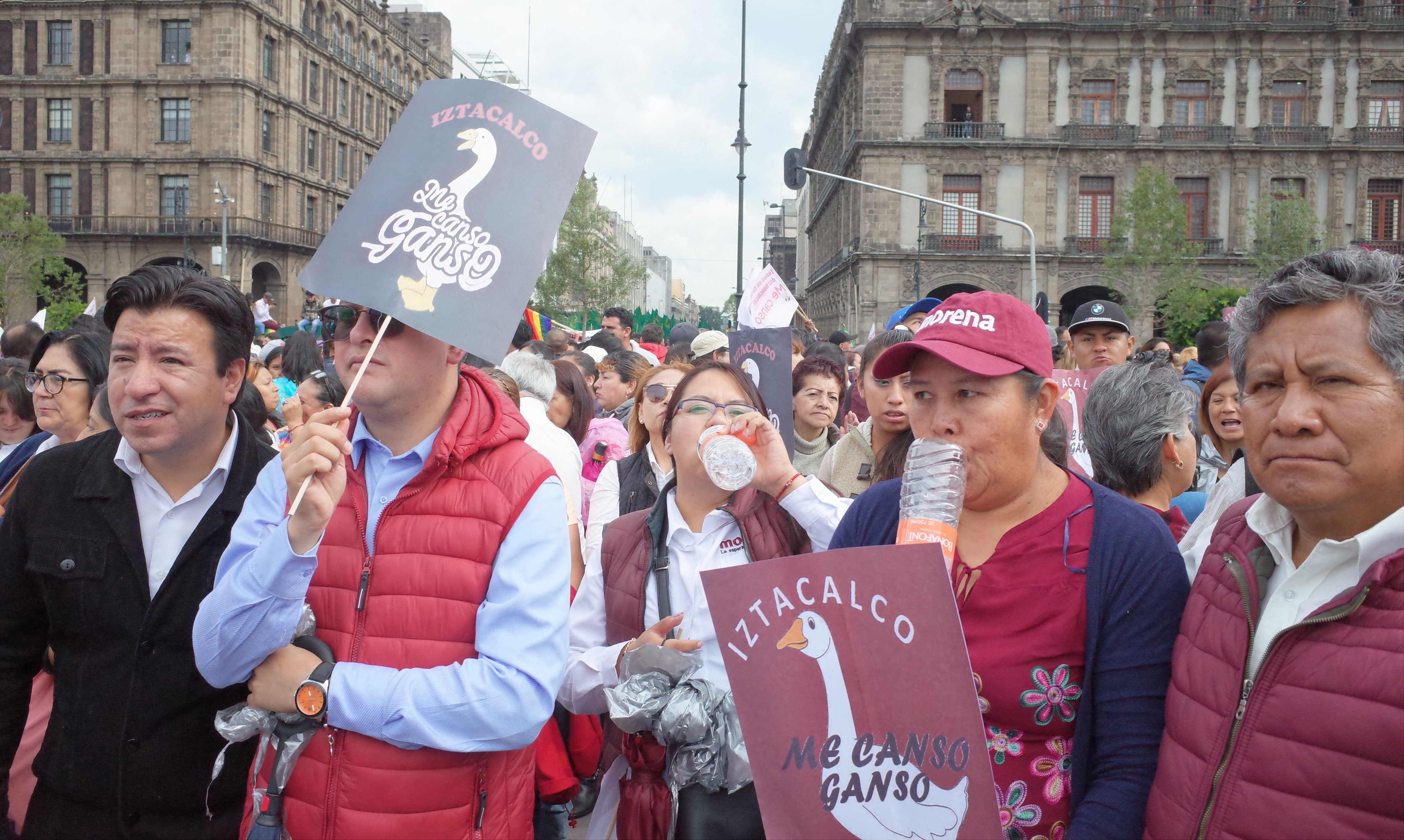 Their placards read 'I'm tired goose,' a favorite phrase of AMLO.
