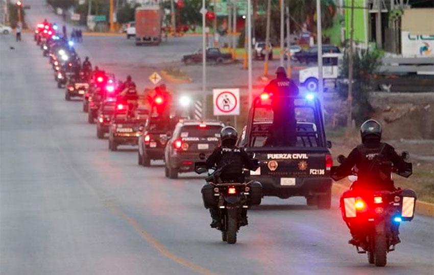 State police roll into Cadereyta Thursday evening.