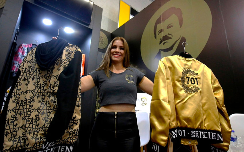 A model displays 'Chapowear' at Guadalajara show.