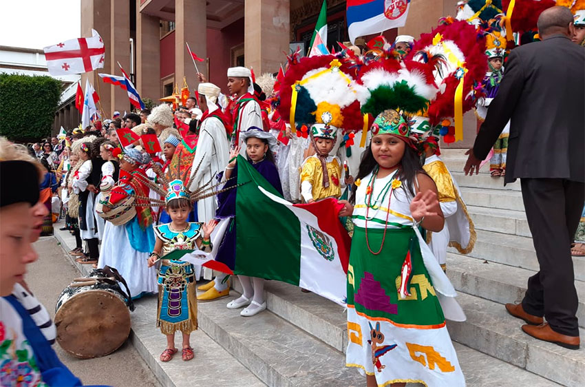 Oaxaca children at peace festival in Morocco.