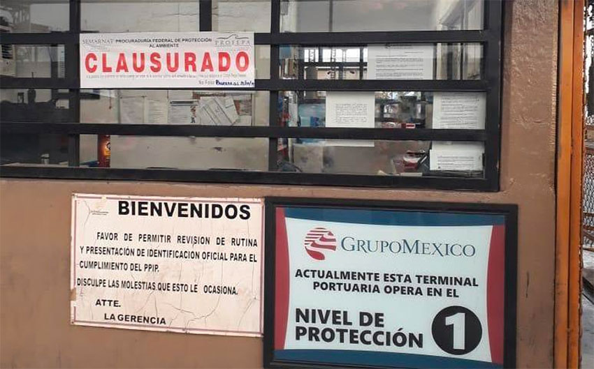 Grupo México's Guaymas terminal after it was closed by Profepa.