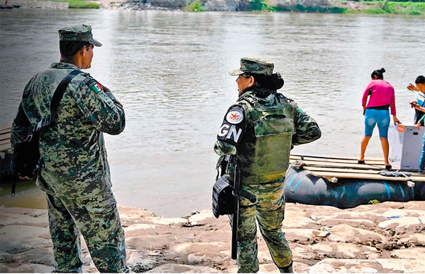 National Guard on patrol at the Suchiate river on the southern border.