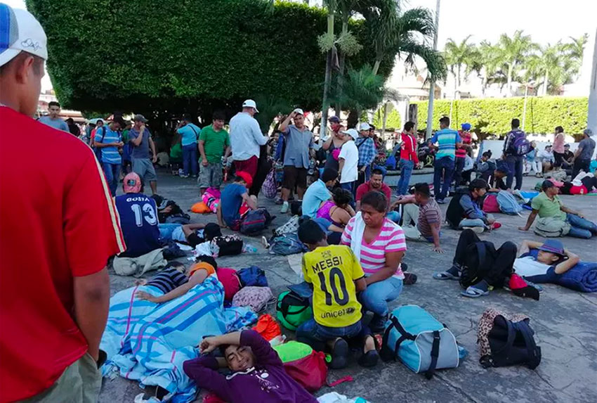 Central Americans camped out in Plaza Hidalgo in the city of Tapachula, Chiapas.